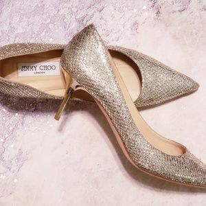 Jimmy Choo Silver Metallic Glitter Pumps / Heels